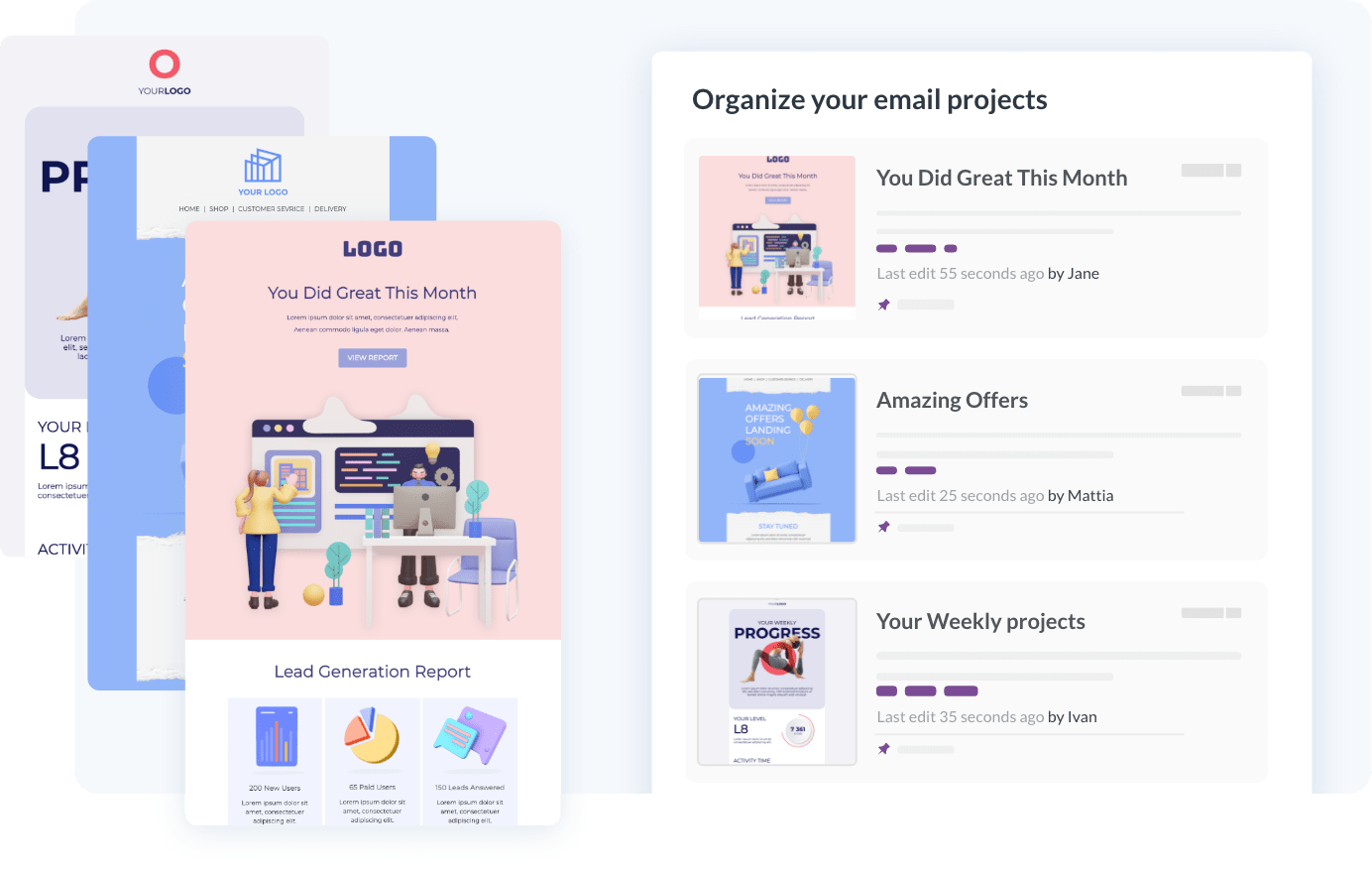 Save unlimited emails and landing pages