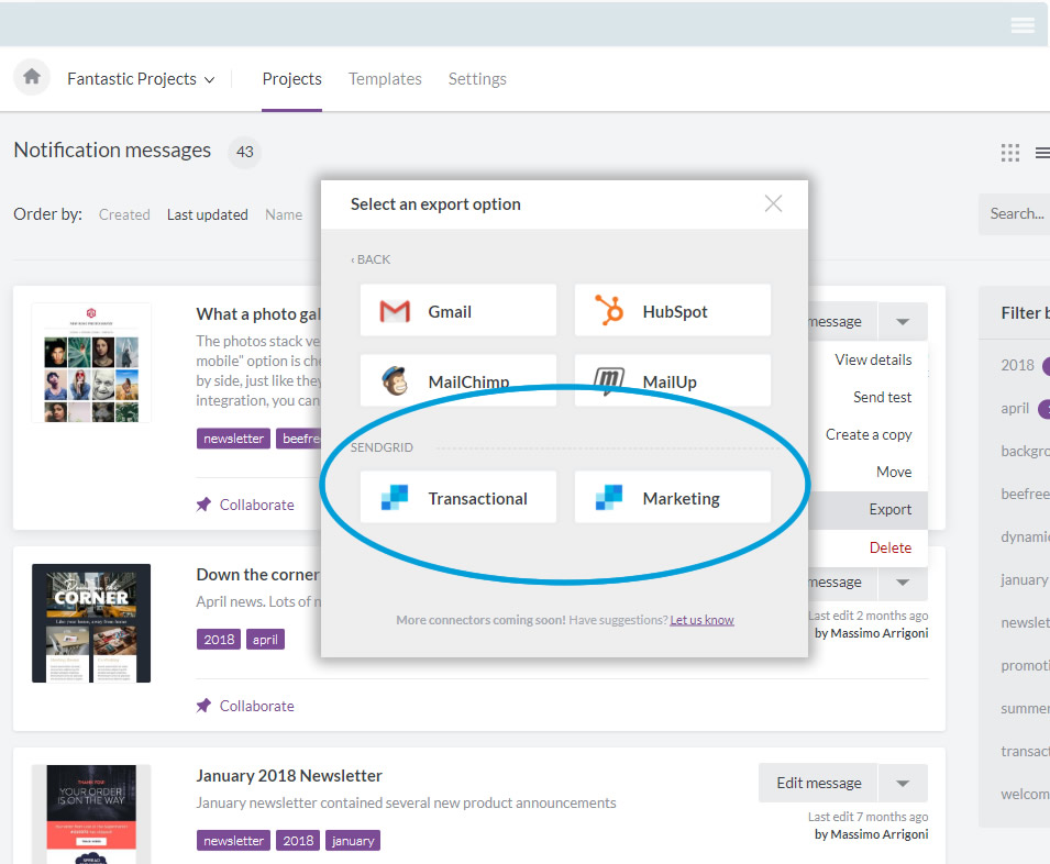 Export your email to SendGrid as transactional or marketing templates